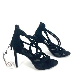 Zara Black Strappy Knotted Heel Sandal